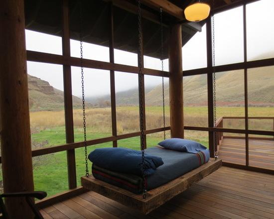 custom wood hanging bed central oregon